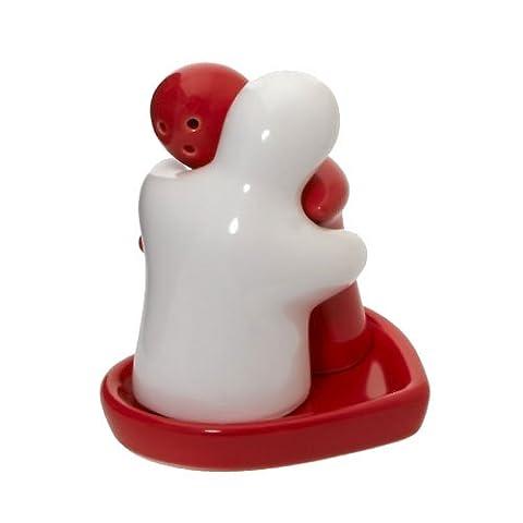 Rouge blanc étreindre Couple sel et poivre Pots à fleurs sur plateau en forme de cœur