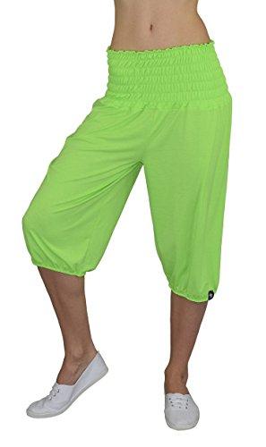 S&LU tolle Kurze Damen Flatterhose, Haremshose, Pluderhose/extrem dehnbarer Bund/in vielen tollen Farben Größe XXS bis XXXXXXL (6XL) (Einheitsgröße 3XL-6XL, Neon-Grün) Neon-grüne Hose