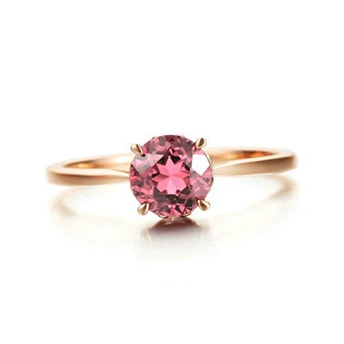 Aooaz 18k Gold Damen Ringe Turmalin Rot(0.85ct) Runde Ringe Rosegold Verlobungsringe Gr.62 (19.7)