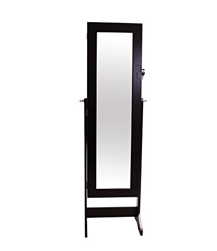 Todeco - Schmuckschrank mit Spiegel, Spiegel Organizer - Material: Glas - Spiegelgröße: 1086 x 255 x 3 mm - 120 x 38 x 9 cm, Braun, Ständer