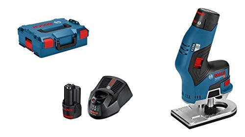 Bosch Professional GKF 12V-8 Rifilatore a Batteria, 2 Batterie da 3.0 Ah, Caricabatteria, Valigetta L-BOXX, 12 V, Codolo per Testa di Fresatura 8 mm, Numero di Giri a Vuoto 13000 giri/min