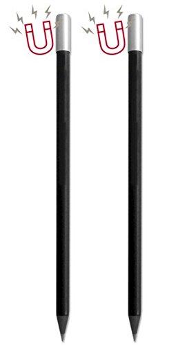 2er-Set Magnetbleistifte in Stifteetui/Bleistift mit Magnet, schwarz, ideal als Kühlschrankmagnete, Zubehör für magnetische Notizblöcke