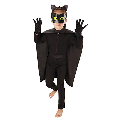Kostüm Cat Scary - ERFD&GRF Horror Kostüm Monster Cat Halloween Kostüme für Kinder Scary Noir Kostüm Halloween Kleid Creepy Demon Jumpsuit Teufel Kostüme, Schwarz, L
