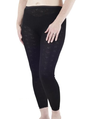 Womens spazzolato biancheria intima termica, Long John, British Made by LUX Lux Black