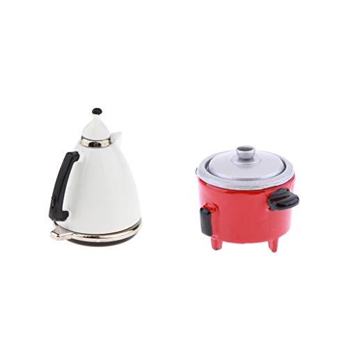 SM SunniMix Puppenhaus Miniatur Elektroherd Und Kaffeekanne Im Maßstab 1:12
