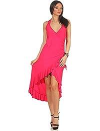 2a0e326d468 Jela London Damen Vokuhila Neckholder-Tanzkleid Abendkleid Latin Salsa  Volant (34 36