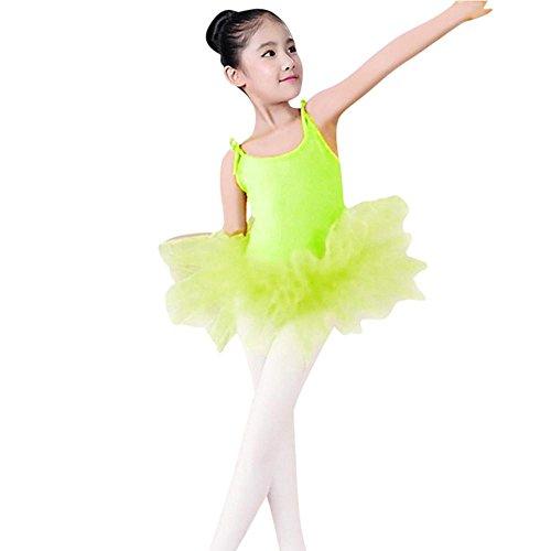 Spielraum!!! LSAltd Kleinkind Mädchen Straps Bowknot Gaze Trikot Ballett Body Kleid Kinder Baby Solide Dancewear Outfits (3T, Gelb)