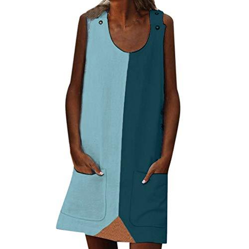 XuxMim Damenmode Sommer straße Freizeit ärmellose verstärktes Tasche große größe Dress(Hellblau,X-Large)