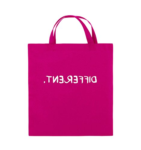 Comedy Bags - DIFFERENT - GESPIEGELT - Jutebeutel - kurze Henkel - 38x42cm - Farbe: Schwarz / Silber Pink / Weiss