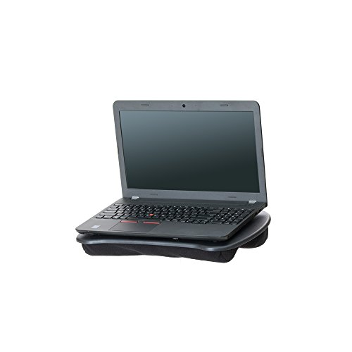 Mind Reader Portable Laptop Lap Desk with Handle, Built-in Cushion for Comfort, Black -