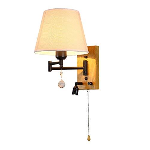 Tinsinss Wandleuchte Modern Einfache Rocker Schlafzimmer Wandleuchte Nachttisch LED Leselampe Yabu Shade Massivholz Basis Knob/Pull Doppelsteuerschalter E 27 Lichtquelle (Farbe : -, Größe : -) -