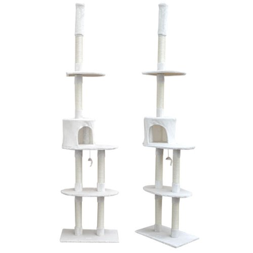 Eyepower Katzenkratzbaum Florian Großer freistehender deckenhoher Kratzbaum ca. 240-260 cm Sisal-Stämme aus Natursisal weiche Plüsch-Liegeflächen Kletterbaum Spielbaum für Katzen Weiß