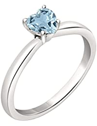 Silvernshine 7mm Heart Cut Aquamarine Solitaire Engagement Ring 4 Prong 14K White Gold Plated