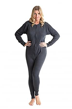 OCTAVE® Womens Thermal Underwear All In One Union Suit / Thermal Body Suit (Ex-Ex-Large, Denim)