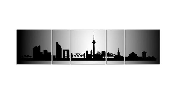 PANORAMA Leinwand 5 BILDER DÜSSELDORF Silber P500015 XXL SKYLINE CITY KEILRAHMEN