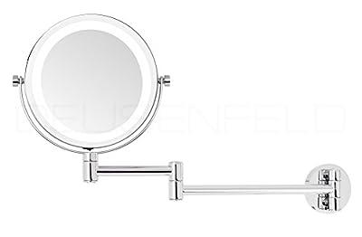 DEUSENFELD WL7CB - Batterie LED Doppel Wand Kosmetikspiegel, Schminkspiegel, Rasierspiegel, 7-fach Vergrößerung + Normalspiegel, Ø15cm, 360° vertikal und horizontal schwenkbar, SMD Tageslicht LEDs, Metall verchromt