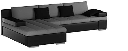 Design Ecksofa Bangkok, Moderne Eckcouch mit Schlaffunktion Bettkasten Ecksofa für Wohnzimmer Gästezimmer Couch L-Form Wohnlandschaft (Ecksofa Links, Soft 011 + Casablanca 2314 + Casablanca 2316)
