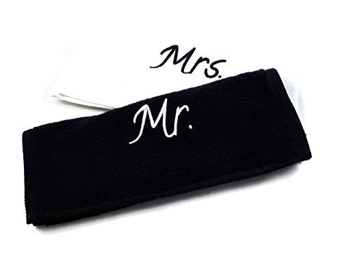 """Handtücher Set """"Mr."""" und """"Mrs.""""- 2 Stück, schwarz / weiß, 30x50cm, Baumwolle, tolles Verlobungsgeschenk oder Hochzeitsgeschenk für das Brautpaar / Hochzeitspaar, Handtuch, Geschenk"""