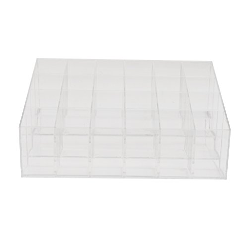 Sharplace Support Présentoir DE 24 Rouge à Lèvres en Acrylique Transparent Organisateur Display Stand de Cosmétique Maquillage 24 Compartiments