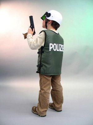 Kinder Kostüm Polizei Polizist Weste grün Größe 128