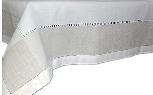 Klassische Tischdecke 130x170 cm eckig Leinenoptik Hohlsaum Wollweiß Natur grau/Ecru Schlichte Eleganz (Tafeltuch 130x170 cm rechteckig) -