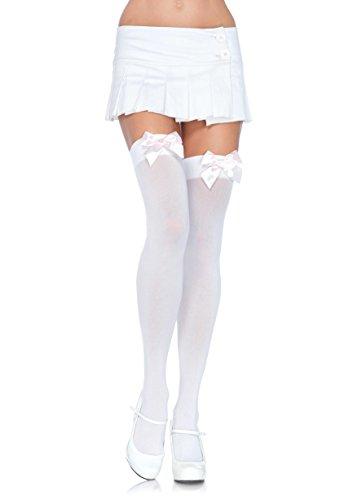 Leg Avenue 6255 - Blickdichte Nylon Overknee Mit Satin Schleife, Einheitsgröße (EUR 36-40), weiß/hellrosa, Damen Karneval Kostüm (Kostüme Satin Nylon)