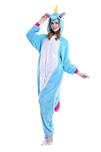 CozofLuv Einhorn Kostüm Erwachsene Tier Jumpsuits Pyjama Nachthemd Nachtwäsche Karnevalskostüme Faschingskostüm Kapuzenkostüm (L: 170-180cm, Blau)