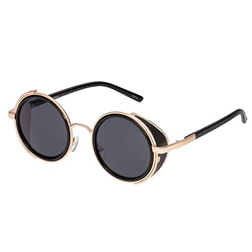 Ultra Gold Mit Grauen Linsen Steampunk Sunglasses Goggles Premium Retro Women Men Round Rave Gothic Vintage Rivet Victorian Style Cyber Welding Cosplay UV400 Metal Unisex Circle Glasses