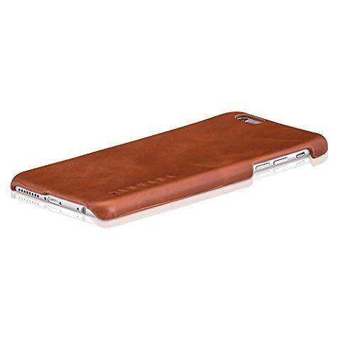 """iPhone 6/6s Plus Pochette cuir coque arrière marron - KANVASA """"One"""" housse ultra mince pour Apple iPhone 6/6s Plus (5.5"""") - fabriqué de véritable cuir authentique - Protection optimale & cuir premium"""