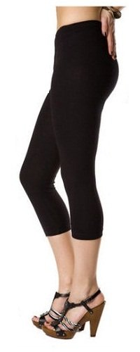 Samaira Cotton Lycra Capri Leggings Black - Free Size