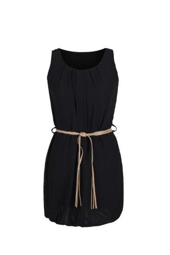 Apparel Outlet - Mini robe style Tunique sans manche - Babydoll - Femme Noir