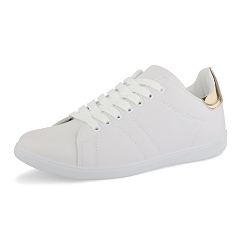best-boots Damen Herren Low-Top Sneaker Flats Turnschuhe Retro Weiß / Gold