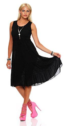 ZARMEXX robe d'été volantée de femmes empire robe longue robe de plage de longueur du genou Noir