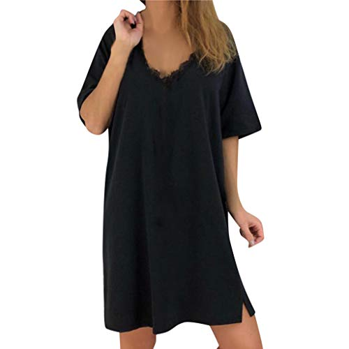 Kleid Damen Elegant Kolylong Frauen Casual V-Ausschnitt Spitze Kurzarm T-Shirt Kleid Kurz Minikleid Loose Blusenkleid Shirt Kleid Sport Kleid Sundress Cocktail Partykleid Tops -
