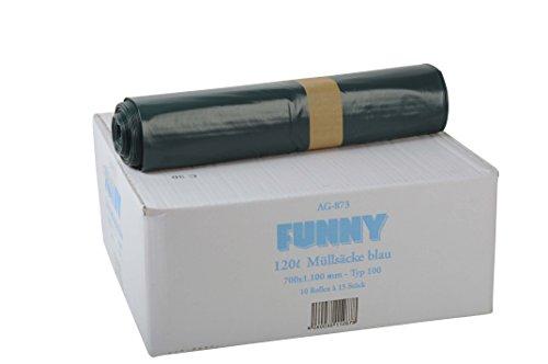 Müllsäcke, blau, gerollt, 120 l, Typ 100, 1er Pack (1 x 150 Stück) ()