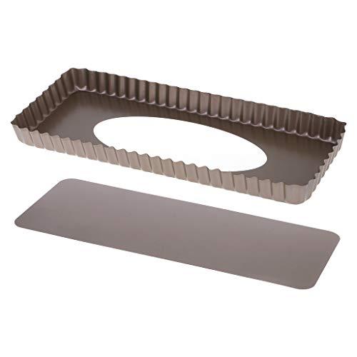 Tarte geriffelte Tarteform, Backform, Backform, Backblech, abnehmbarer Boden, Quiche Antihaftbeschichtung, rechteckig (Mini-tarte-kuchenform)