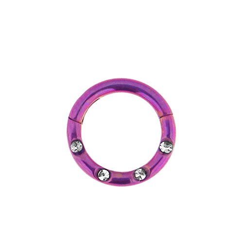 16 Lehre - 6 MM Durchmesser lila eloxiert Chirurgenstahl 4 Kristallsteinen gepflastert klappbar Segment Nase Ring Septum Piercing