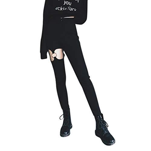 UFODB Gothic Kleidung Damen Hosen, Frauen Steampunk High Waist Leggings Hollow Elastic Mit Eisenring Bleistift Straight-Cut Slim Fit Punk Schwarz Pants Lang Freizeithosen