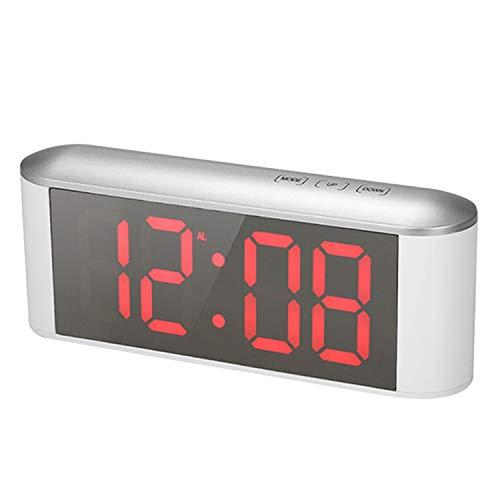 Digitaler Wecker,Wecker Funk,Multifunktions Dimmable LED Digital Thermometer Wecker mit USB Kabel für Zuhause Schlafzimmer Wohnzimmer Rot