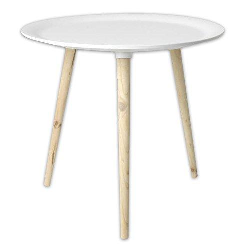 Wop art moderno tavolo in retrò stile in legno di abete Ø 38 cm Ø 48 cm nero + bianco - bianco, Ø 38 cm