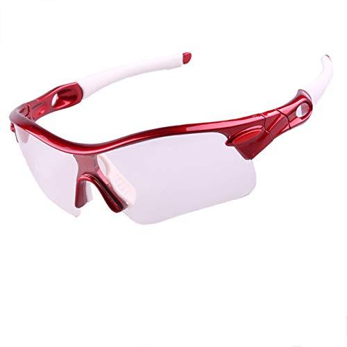 Gnzoe PC Verfärbung Fahrradbrille Winddicht Radsportbrille Sonnenbrille Motorradbrillen für Motorrad Fahrrad Helmkompatible/Rot Weiß