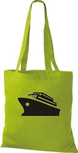 JUTA Borsa di stoffa CROCIERA, Nave, Nave passeggeri Lime