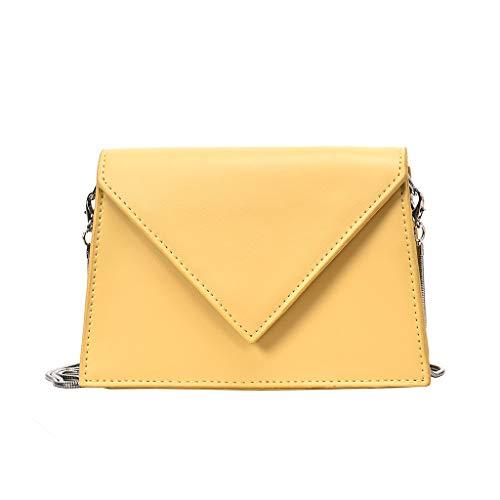 Tohole Frauen Kleine Crossbody GeldböRse FüR Leder UmhäNgetasche Handtasche Telefon MäDchen Schultertasche Kette Clutch Mini Vintage Handbag(gelb) -