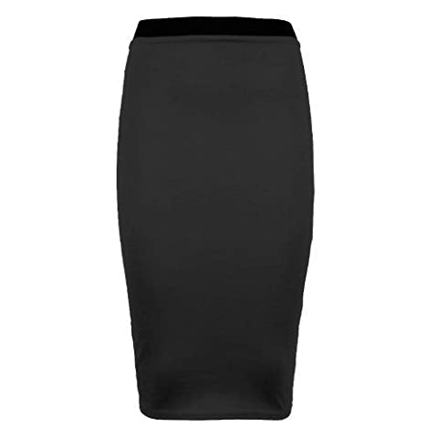 Runway Splash - Femmes - Jupe fourreau moulante mi-longue extensible couleur unie toutes tailles et couleurs - XXL (46-48), Noir