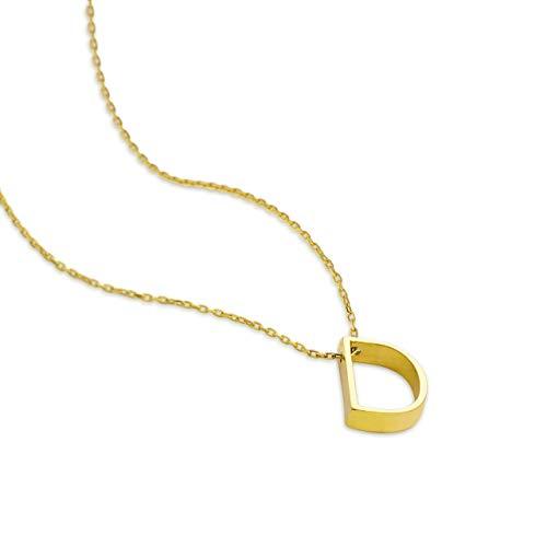 Luxioro Damen Halskette mit Anhänger 3 dimensionale Buchstabe D Vergoldet in 925 Sterling Silber 42+3cm 100151