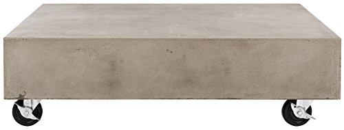 Safavieh Table Basse concrète, Pierre, Gris Foncé, 80 x 80 x 43,94 cm
