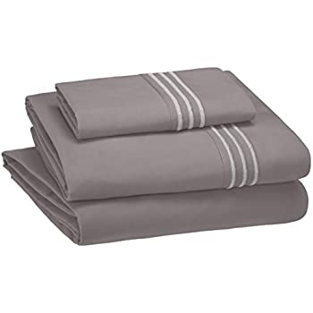 AmazonBasics Embroidered Hotel Stitch Sheet Set - Premium, Soft, Easy-Wash Microfiber - Twin, Dark Grey - with pillow cover