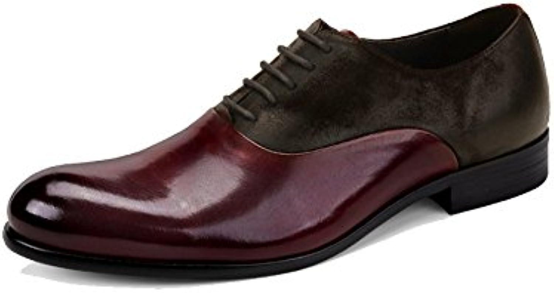 Cordones De Los Hombres Hombres Zapatos De Cuero Ligero Casual Negocios Usable Absorción De Choque Vintage -
