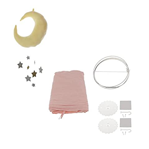 MagiDeal Princess Bed Canopy Baby Kids Reading Play Tents Cotton Mosquito Bedding Net Pink Color with Hanging Moon&Star Pendant Decor Boy Girl Baby's