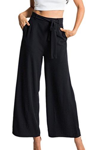 Frauen Elegant Flowy Breite Bein Hohe Taille Angegurteten Palazzo Culotte Hose Capris Black